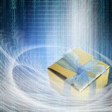 conceptual internet business illustration of binary code and shiny gift box royalty free stock photos