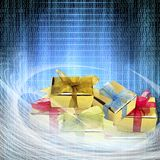 conceptual internet business illustration of binary code and shiny gift boxes royalty free stock photos