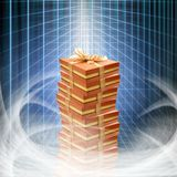 Conceptual internet business illustration of shiny gift boxes an stock photo