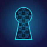 Conceptual key hole with lock fragment Stock Images
