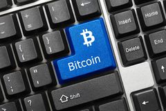Conceptual keyboard - Bitcoin blue key Stock Photography