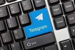 Conceptual keyboard - Telegram blue key with logotype royalty free stock photo