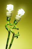 Conceptual lamps. Conceptual image of two economic lamps as flowers on top of green canes Royalty Free Stock Image