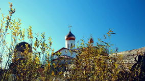 Conceptual landscape. View of the old and new churches stock video