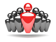 Conceptual leadership and teamwork red figure Stock Photo