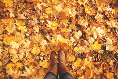 Conceptual legs in boots on the autumn leaves. Feet shoes walking in nature.