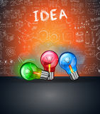 Conceptual LIght Bulb IDEA backgroud with space for text and 3 colorful lamps Stock Image