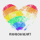 Conceptual logo with fingerprint rainbow heart. Simple flat icon with heart stamp in rainbow colors of LGBT flag. Gay and lesbian support symbol. Heart mark Stock Photo