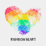 Conceptual logo with fingerprint rainbow heart. Simple flat icon with thumb stamp in rainbow colors of LGBT flag. Gay and lesbian support symbol. Heart mark Royalty Free Stock Images