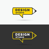 Conceptual logo and label Design studio. Vector graphics. Royalty Free Stock Photography