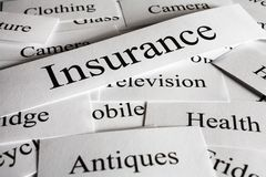 Insurance Concept Things to Insure. A conceptual look at insurance and the things you need cover for Stock Photos