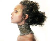 Conceptual make-up. Fashionable girl. Bright hairs stock photo