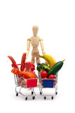 Conceptual man, meat, vegetables,isolated on white Stock Photos
