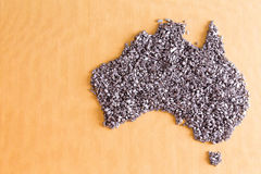 Conceptual map of Australia formed of small stones Royalty Free Stock Photography