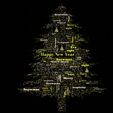 Merry Christmas word cloud in tree shape royalty free stock images