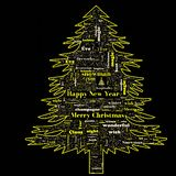 Merry Christmas word cloud in tree shape royalty free stock photography