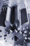 Conceptual metal-idea in blue Stock Photography