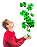 Conceptual money rain Royalty Free Stock Images