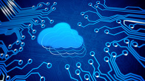 Conceptual of mother board with cloud. Stock Photo