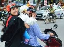 CONCEPTUAL - MOTORBIKE SAFETY FOR HAPPY FAMILY Royalty Free Stock Photos