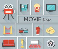 Conceptual Movie Time Graphic Design. Simple Conceptual Movie Time Graphic Design with Gray Background Stock Photos
