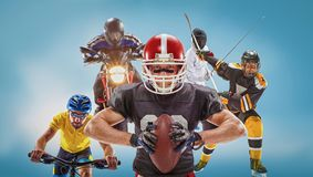 The conceptual multi sports collage with american football, hockey, cyclotourism, fencing, motor sport. On blue background. Concept of athletes in helmets and Stock Photography