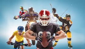 The conceptual multi sports collage with american football, hockey, cyclotourism, fencing, motor sport. On blue background. Concept of athletes in helmets and Royalty Free Stock Image