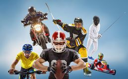The conceptual multi sports collage with american football, hockey, cyclotourism, fencing, motor sport. On blue background. Concept of athletes in helmets and Royalty Free Stock Photo