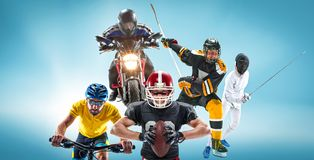 The conceptual multi sports collage with american football, hockey, cyclotourism, fencing, motor sport. On blue background. Concept of athletes in helmets and Royalty Free Stock Photos