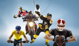 The conceptual multi sports collage with american football, hockey, cyclotourism, fencing, motor sport. On blue background. Concept of athletes in helmets and Stock Photos