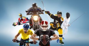 The conceptual multi sports collage with american football, hockey, cyclotourism, fencing, motor sport. On blue background. Concept of athletes in helmets and Royalty Free Stock Images