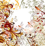 Creative music background with floral ornament Stock Photo