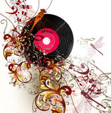 Creative music background with notes and ornament Royalty Free Stock Photos