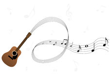 Conceptual music illustration with guitar Royalty Free Stock Photography