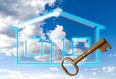 Conceptual new home. Conceptual dream-like new home with a key Royalty Free Stock Images
