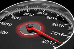 Conceptual 2017 New Year Speedometer. 3d Rendering Stock Photo