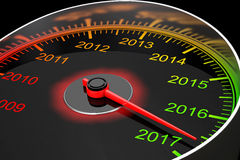 Conceptual 2017 New Year Speedometer. 3d Rendering. Conceptual 2017 New Year Speedometer on a black background. 3d Rendering Stock Photos
