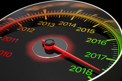 Conceptual 2018 New Year Speedometer. 3d Rendering Royalty Free Stock Photo