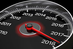Conceptual 2018 New Year Speedometer. 3d Rendering. Conceptual 2018 New Year Speedometer on a black background. 3d Rendering Royalty Free Stock Images