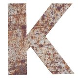 Conceptual old rusted meta capital letter -K, iron or steel industry piece isolated white background. Educative rusty material, ag. Ed vintage surface, worn vector illustration