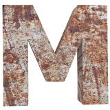Conceptual old rusted meta capital letter -M, iron or steel industry piece isolated white background. Educative rusty material, ag. Ed vintage surface, worn stock illustration