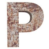 Conceptual old rusted meta capital letter -P, iron or steel industry piece isolated white background. Educative rusty material, ag. Ed vintage surface, worn vector illustration