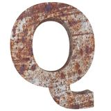 Conceptual old rusted meta capital letter -Q, iron or steel industry piece isolated white background. Educative rusty material, ag. Ed vintage surface, worn stock illustration