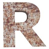 Conceptual old rusted meta capital letter -R, iron or steel industry piece isolated white background. Educative rusty material, ag. Ed vintage surface, worn vector illustration