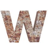 Conceptual old rusted meta capital letter -W, iron or steel industry piece isolated white background. Educative rusty material, ag. Ed vintage surface, worn royalty free illustration