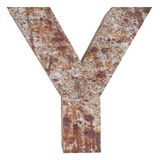 Conceptual old rusted meta capital letter -Y, iron or steel industry piece isolated white background. Educative rusty material, ag. Ed vintage surface, worn stock illustration