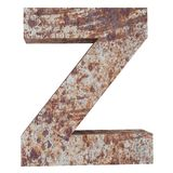 Conceptual old rusted meta capital letter -Z, iron or steel industry piece isolated white background. Educative rusty material, ag. Ed vintage surface, worn royalty free illustration