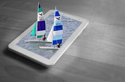 Yachts racing regatta race watersports boat tablet concept. Conceptual out of frame photo of a yachts racing out of a tablet device performing in a regatta on vector illustration