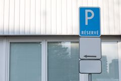 Conceptual parking sign - reserve - with blank supplementary board royalty free stock photos