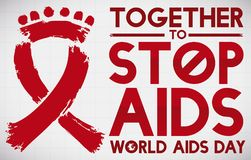 Conceptual People over Red Ribbon for World AIDS Day, Vector Illustration. Poster with conceptual red ribbon that symbolize the union against HIV virus and Royalty Free Stock Photos